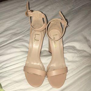Lulus 2 Strap Nude Heels